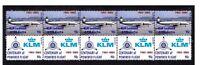 KLM AIRLINES CENTENARY FLIGHT STRIP OF 10 MINT VIGNETTE STAMPS, LOCKHEED