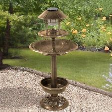 ORNAMENTAL BIRD HOTEL FEEDER & BATH WITH SOLAR LIGHT GARDEN BIRDS TABLE STATION