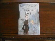 THE GRAVEYARD BOOK, Neil Gaiman, SIGNED 2x w/Drawing,1st/1st print UK 2008 HCDJ