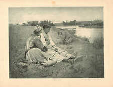 Farm Girls, On The Bank Of The Brook, by Pearce, Vintage 1890 Antique Art Print