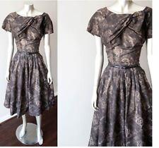 Rockabilly Floral Swing Vintage 50s Tea Wedding Bridal Semi Sheer Party Dress M