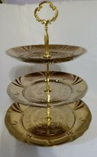 """3 Tier Metal Cupcake Stand Wedding/Party. Golden Stainless Steel 13.6"""" Tall"""