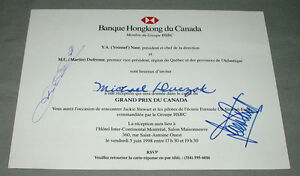 Jan Magnussen & Jackie Stewart Signed Montreal Formula 1 Grand Prix Inviatation