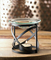 Black Orbital Modern Oil Wax Warmer With Glass Dish Tealight Candle Holder