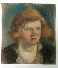 ANTIQUE 1930's RUSSIAN PASTEL PAINTING ARTIST N. ISSAIEV PORTRAIT WOMAN