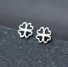 Fashion Lovely Flower Four-leaf Lucky Clover 925 Sterling Silver SP Stud Earring