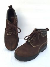 Vintage Chocolate Lee Boots Suede Hiking Ankle Brown Womens Size 6 M Trail 90's