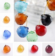 2pcs 20mm Teardrop Faceted Crystal Glass Loose Spacer Beads Pendant Transparent