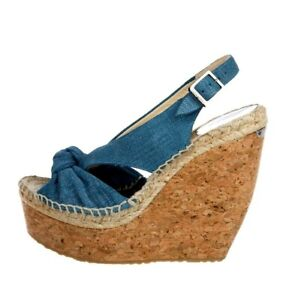 JIMMY CHOO Blue Denim Knot Vamp PARISA Cork Wedges Sandals sz 8 New $595