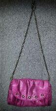 MATT & NAT-Stardust Chain Studded Shoulder/Crossbody Clutch-Magenta-Pink-EUC