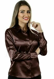Women Satin Casual Office Shirt Button Down Solid Collar Blouse Top - Coffee