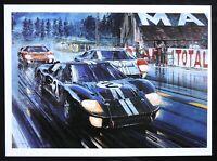 "1966 Le Mans FORD GT40 McLaren Amon Nicholas WATTS Art Print 10.5""x14.5"""