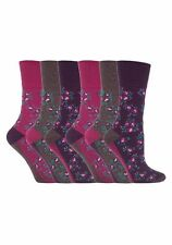 6 Prs Ladies Sockshop Cotton Gentle Grip Socks 4-8uk 37-42 Rose Floral Pink RH58
