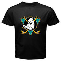 New Mighty Ducks of Anaheim NHL Hockey League Mens Black T-Shirt Size S to 3XL
