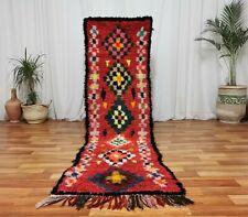"Vintage Handmade Moroccan wool Runner Rug 2'3""x8'4"" Burgundy Colorful shag Rug"