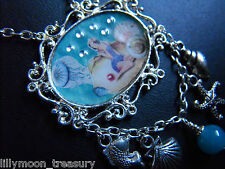 """RESIN COLLAGE NECKLACE PEARL shell FISH STARFISH OCEAN BEACH GIRL 18-20"""" OOAK"""
