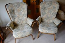 2 no. Ercol Evergreen Armchairs - floral upholstery