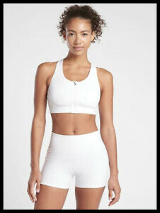 Athleta NWT Women's Ultimate Zip Front Bra D-DD Size Large Color White