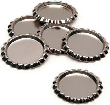 """Ssr-518 6-Piece Flat With Hole Bottle Caps 1"""" Silver Chrome"""