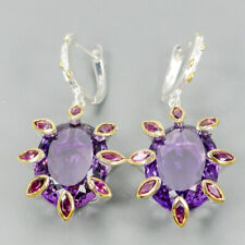 Vintage35ct+ Natural Amethyst 925 Sterling Silver Earrings /E36915
