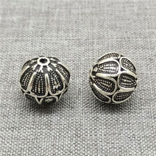 2pcs of 925 Sterling Silver Oxidized Round Beads 12mm for Bracelet Necklace