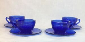 Mosser Art Glass Cobalt Blue Miniature Jennifer Cup and Saucer Set