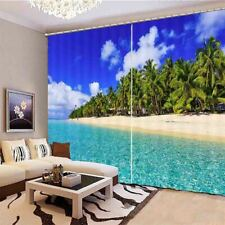 Beautiful Seaside Scenery 3D Blockout Photo Print Curtain Fabric Curtains Window