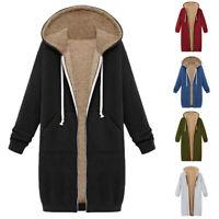 Women Faux Fur Hooded Fleece Lined Long Parka Winter Warm Jacket Coat Outwear