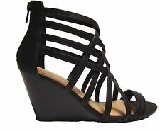 Muno-s Black Tan Beige Blush Wedge Gladiator Caged Heels Sandals Booties Shoes