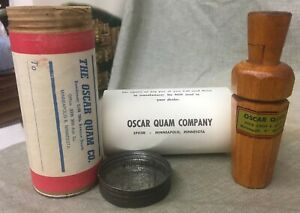 1940's Oscar Quam Co. Duck Call Original Shipping Container Metal Reed