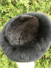 Black Fox Fur Hat With Dark Brown Mink on Top. Saga Furs. Regular Women's Size