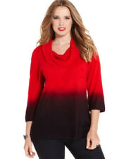 NWT Notations Ombre Red / Deep Plum Cowl Neck Sweater w/ Fx Rhinestones - PL