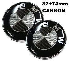 82+74mm passt zu BMW Carbon SchwarzWeiss Emblem Vorne Motorhaube e46 e90 e60 e39