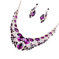 Luxury Rhinestone Crystal Earrings Necklace Wedding Bridal Jewelry Sets