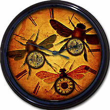 Steampunk Flying Insects Wall Clock Works Gears Victorian Gothic Goth Vintage