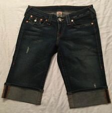 Authentic True Religion Womens Sz 28 Denim Blue Jean Shorts Bermuda Sophie Fit