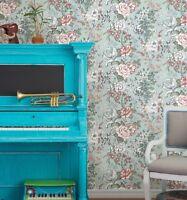A Street Prints Kismet Ainsley Farmhouse Boho Grey Pink Mint Floral Wallpaper