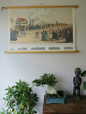 VINTAGE PULL DOWN SCHOOL WALL CHART OF STEAM LOCOMOTIVE AND TRAIN EVOLUTION