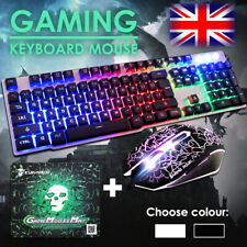 Gaming Keyboard And Mouse Set Rainbow LED Wired USB For PC PS4 Xbox One and 360