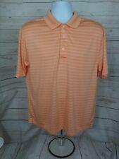 Palm Beach Mens Golf Polo Shirt Short Sleeve Size Large Orange Striped B2/218