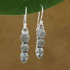 Enfilade en argent 925 topaze bleue boucles d'oreilles mode indienne cadeau 3758