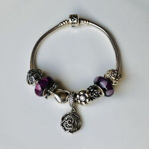 Pandora Bracelet with Pink, Purple and Clear Cubic Zirconia Rose & Floral Charms