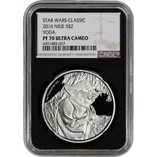 2016 Niue Silver Star Wars Classic - Yoda Proof (1 oz) $2 - NGC PF70 Black Retro