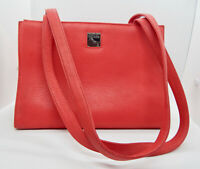 DOONEY BOURKE Red Pebbled Leather Shoulder Bag Double Straps Classic Design