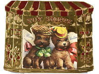 Vintage Embossed Die Cut Foil Scotty Puppy Dogs in Toy Shop Christmas Card