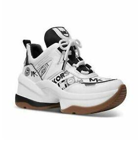 New Michael Kors Women's Olympia Trainer  Sneaker Optic White and Black