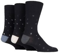 3 Pairs Mens Black Patterned Mix Cotton Everyday Gentle Grip Socks, Size 6-11