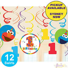 ELMO SESAME STREET 1ST BIRTHDAY PARTY SUPPLIES 12pk HANGING SWIRLS DECORATIONS