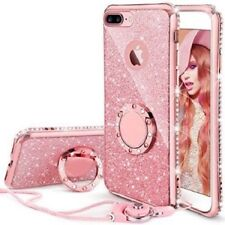 Apple iPhone 8 Plus  Diamond Glitter Ring TPU Phone Case With Neck Strap Cover