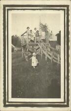 Unusual - Kids on Homemade Roller Coaster Amusement Park Ride in Yard RPPC